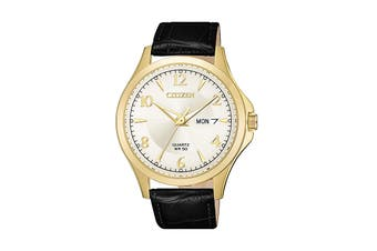 Citizen Men's 41mm Analog Dress Quartz Watch with Date & Leather Strap - Black/Gold (BF2003-25A)