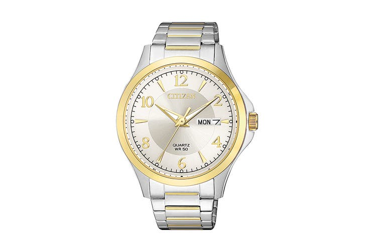 Citizen Men's 41mm Analog Dress Quartz Watch with Date, Stainless Steel Bracelet & Push Button Buckle - Stainless Steel/Gold (BF2005-54A)