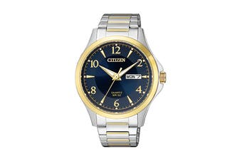 Citizen Men's 41mm Analog Dress Quartz Watch with Date, Stainless Steel Bracelet & Push Button Buckle - Black/Stainless Steel/Gold (BF2005-54L)