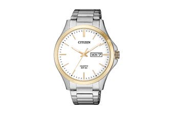 Citizen Men's 41mm Analog Dress Quartz Watch with Date, Stainless Steel Bracelet & Push Button Buckle - White/Stainless Steel/Gold (BF2006-86A)
