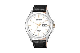 Citizen Men's 41mm Analog Dress Quartz Watch with Date & Leather Strap - White/Stainless Steel/Brown (BF2009-11A)