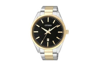 Citizen Men's 42mm Analog Dress Quartz Watch with Date, Stainless Steel Bracelet & Push Button Buckle - Black/Stainless Steel/Gold (BI1034-52E)
