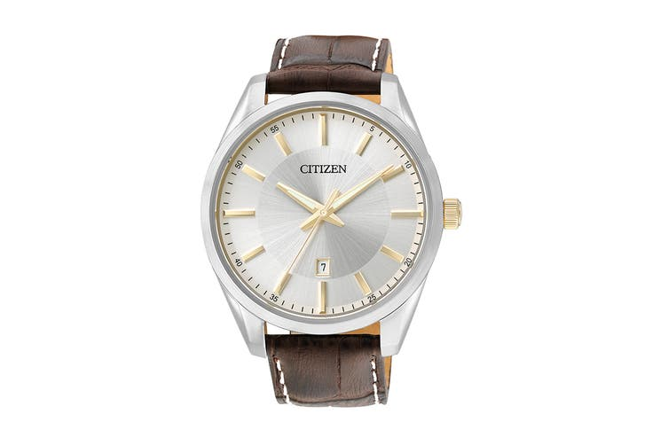 Citizen Men's 42mm Analog Dress Quartz Watch with Date & Leather Strap - Brown/Stainless Steel (BI1038-01A)