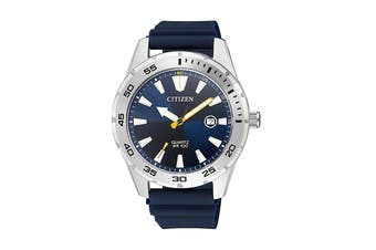 Citizen Men's 42mm Analog Dress Quartz Watch with Date, Polyurethane Strap & Buckle - Blue/Stainless Steel (BI1041-22L)