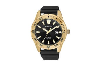 Citizen Men's 42mm Analog Dress Quartz Watch with Date, Polyurethane Strap & Buckle - Black/Stainless Steel Gold (BI1043-01E)