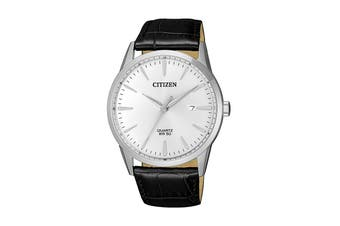 Citizen Men's 39mm Analog Dress Quartz Watch with Date & Leather Strap - Black/Stainless Steel (BI5000-10A)