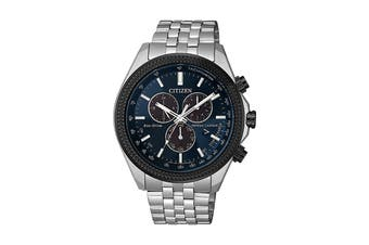 Citizen Men's 44mm Analog Dress Eco-Drive Watch with Date, 12/24 hr Time & Stainless Steel Strap - Blue/Stainless Steel (BL5568-54L)