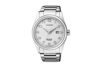 Citizen Men's 41mm Analog Super Titanium Eco-Drive Watch with Date, Titanium Bracelet & Push Button Buckle - Titanium/White (BM7360-82A)