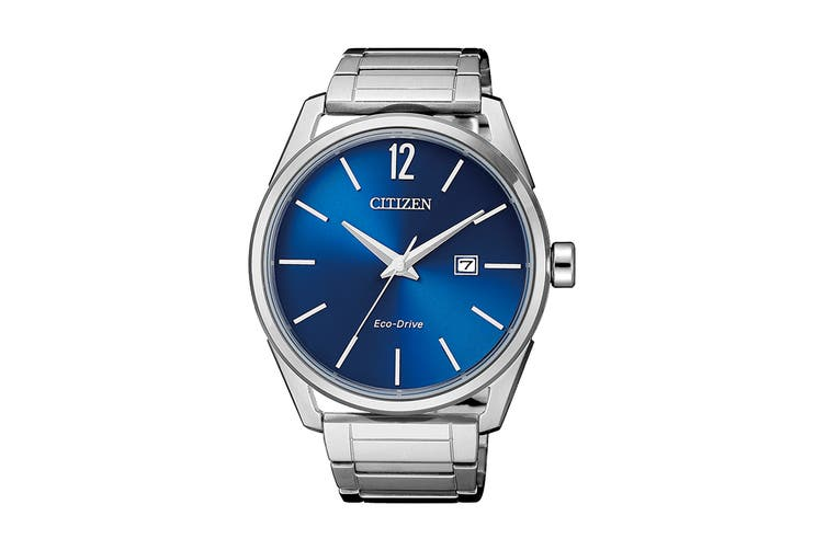 Citizen Men's 42mm Analog Dress Eco-Drive Watch with Date, Stainless Steel Bracelet & Push Button Buckle - Blue/Stainless Steel (BM7411-83L)