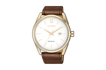 Citizen Men's 42mm Analog Dress Eco-Drive Watch with Date, 3 Hands & Leather Strap - Brown/Gold (BM7418-17A)