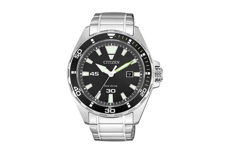 Citizen Men's 43.5mm Analog Dress Eco-Drive Watch with Date, 3 Hands, Stainless Steel Bracelet & Push Button Buckle - Black/Stainless Steel (BM7451-89E)