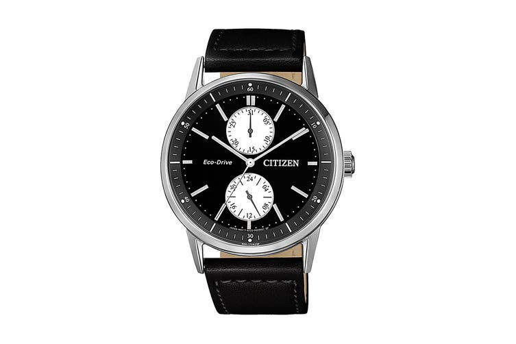 Citizen Men's 41mm Analog Dress Eco-Drive Watch with Date, 3 Hands, Multi Dial & Leather Strap - Black/Stainless Steel (BU3020-15E)