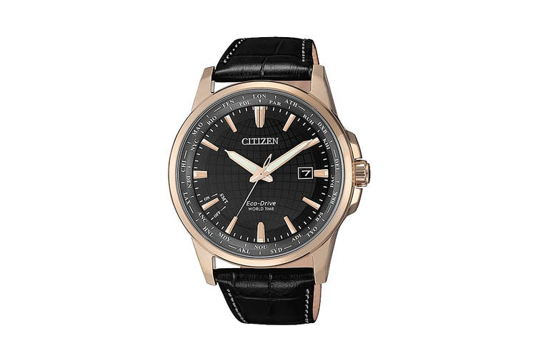 Citizen Men's Analog Eco-Drive Watch with Automated Perpetual Calendar & Soft Oxhide Leather Band - Black/Rose Gold (BX1008-12E)