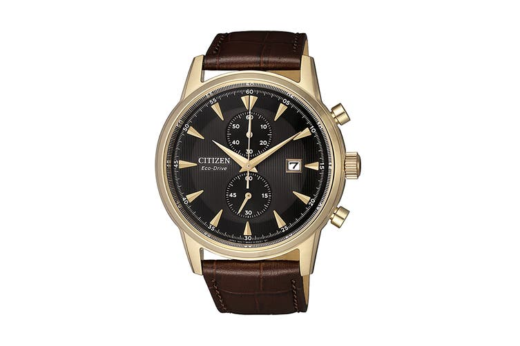 Citizen Men's 42.5mm Analog Chronograph Eco-Drive Watch with Date, Multi Dial & Leather Strap - Gold/Brown (CA7008-11E)