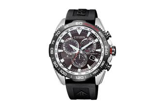Citizen Men's 44.6mm Analog Promaster Land Eco-Drive Watch with Date, World Time, Perpetul Calendar, Alarm, Multi Dial & Polyurethane Strap - Stainless Steel/Black (CB5036-10X)
