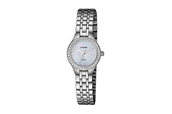 Citizen Ladies' 21.4mm Analog Dress Quartz Watch with Swarovski Elements, 3 Hands, Stainless Steel Bracelet & Push Button Buckle - Stainless Steel/Mother Of Pearl (EJ6140-57D)