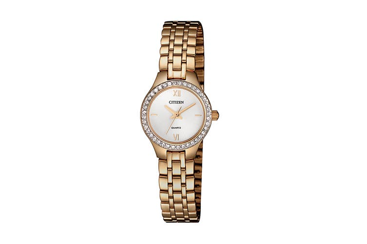 Citizen Ladies' 21.4mm Analog Dress Quartz Watch with Swarovski Elements, 3 Hands, Stainless Steel Bracelet & Push Button Buckle - Rose Gold (EJ6143-59A)