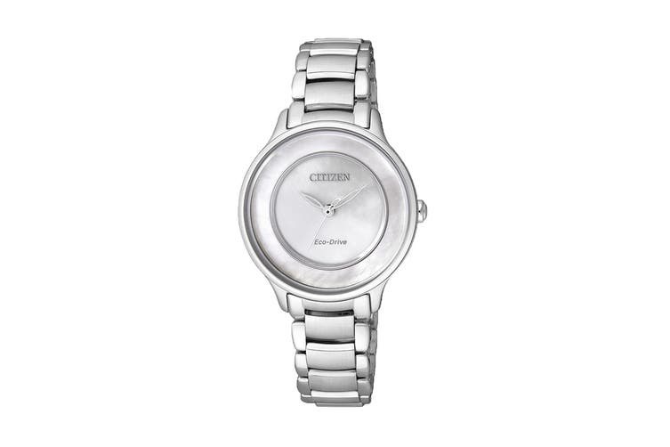 Citizen Ladies' 30mm Analog Dress Eco-Drive Watch with 3 Hands Steel Bracelet & Push Button Buckle - Stainless Steel/Mother of Pearl (EM0380-57D)