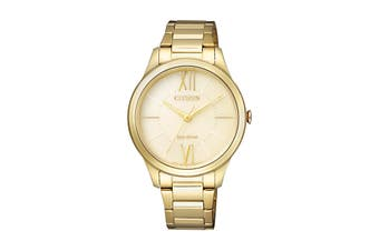 Citizen Ladies' 34mm Analog Dress Eco-Drive Watch with 3 Hands, Stainless Steel Bracelet & Push Button Buckle - Gold/Stainless Steel (EM0412-52P)