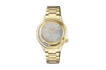 Citizen Ladies' 32.5mm Analog Diamond Eco-Drive Watch with 3 Hands, Stainless Steel Bracelet & Push Button Buckle - Stainless Steel Gold/Mother of Pearl (EM0512-82D)