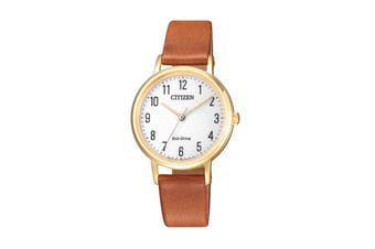 Citizen Ladies' 30.2mm Analog Dress Eco-Drive Watch with 3 Hands & Leather Strap - White/Chestnut/Gold (EM0578-17A)