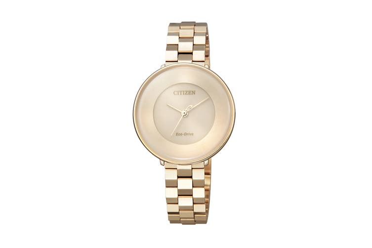 Citizen Ladies' 31.1mm Analog Dress Eco-Drive Watch with 3 Hands & Stainless Steel Bracelet & Push Button Buckle - Gold/Rose Gold (EM0603-89X)