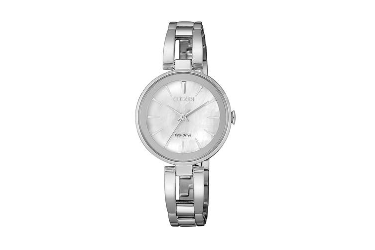 Citizen Ladies' 28mm Analog Dress Eco-Drive Watch with 3 Hands & Stainless Steel Bracelet & Push Button Buckle - Silver/Stainless Steel (EM0631-83D)