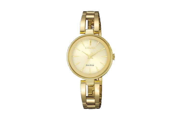 Citizen Ladies' Analog Eco-Drive Watch with Push Button Buckle - Stainless Steel/Champagne (EM0632-81P)