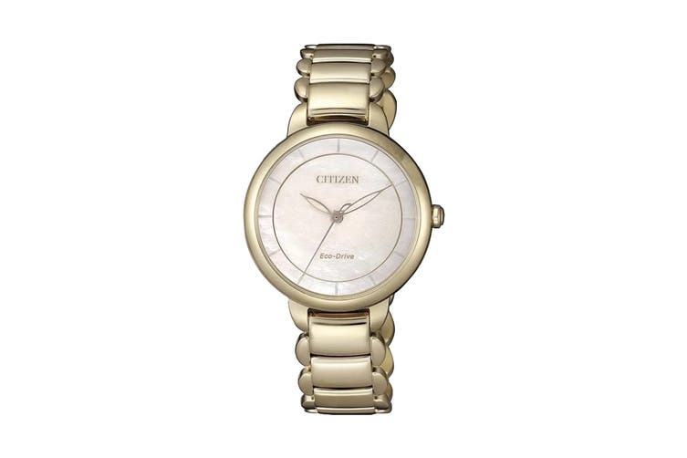 Citizen Ladies' Analog Eco-Drive Watch with Push Button Buckle - Two-Tone Stainless Steel/Pearl (EM0673-83D)