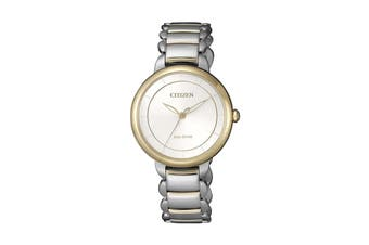 Citizen Ladies' Analog Eco-Drive Watch with Push Button Buckle - Two-Tone Stainless Steel/Pearl (EM0674-81A)
