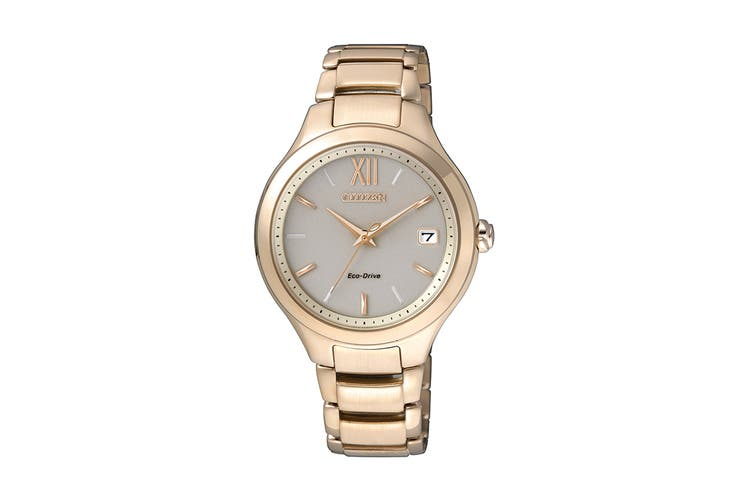 Citizen Ladies' 34mm Analog Dress Eco-Drive Watch with Date, 3 Hands & Stainless Steel Bracelet & Push Button Buckle - White/Stainless Steel Gold (EO1163-57P)