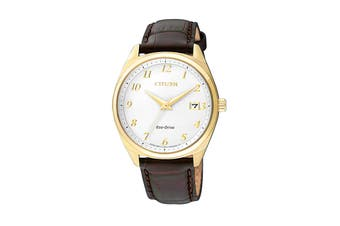 Citizen Ladies' 35mm Analog Dress Eco-Drive Watch with Date, 3 Hands & Leather Strap - White/Black/Stainless Steel Gold (EO1172-05A)