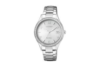 Citizen Ladies' Analog Crystal Eco-Drive Watch with Swarovski Elements, 3 Hands, Date Stainless Steel Bracelet & Push Button Buckle - Stainless Steel (EO1180-82A)