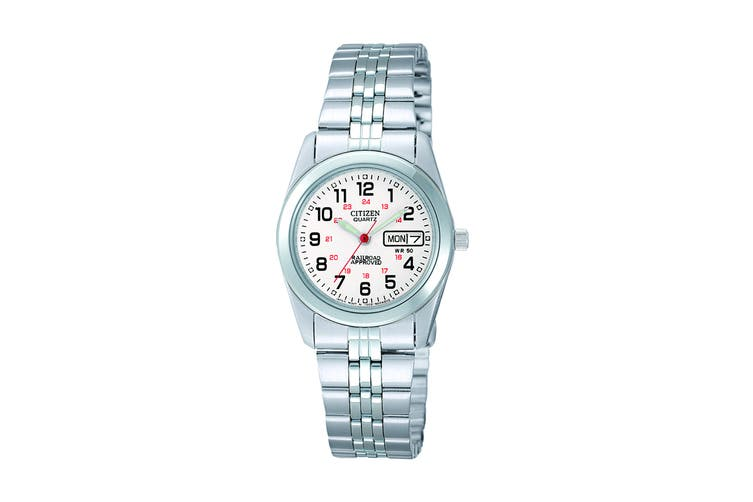 Citizen Ladies' 26mm Analog Dress Quartz Watch with Date/Day, 3 Hands, Stainless Steel Bracelet & Push Button Buckle - White/Stainless Steel (EQ0510-58A)