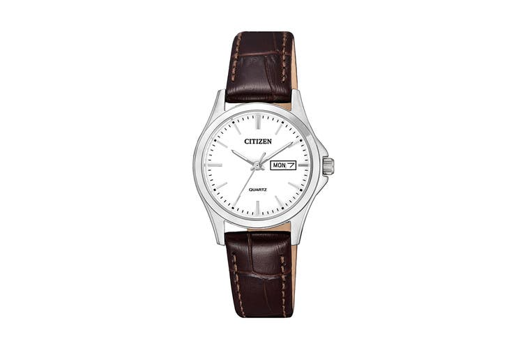 Citizen Ladies' 27.5mm Analog Dress Quartz Watch with Date/Day, 3 Hands & Leather Strap - White/Brown Leather (EQ0591-21A)