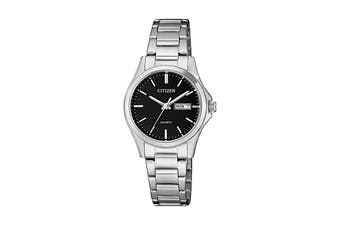 Citizen Ladies' 27.5mm Analog Dress Quartz Watch with Date/Day, 3 Hands, Stainless Steel Bracelet & Push Button Buckle - Black/Stainless Steel (EQ0591-81E)