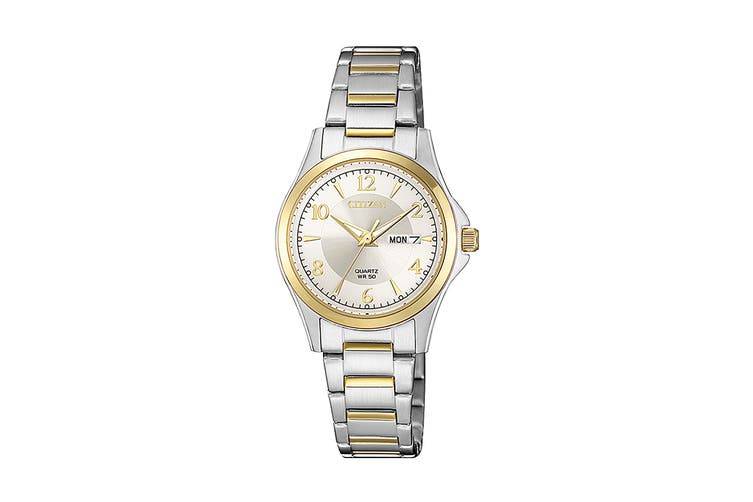 Citizen Ladies' 27.5mm Analog Dress Quartz Watch with Date/Day, 3 Hands, Stainless Steel Bracelet & Push Button Buckle - White/Stainless Steel/Gold (EQ0595-55A)