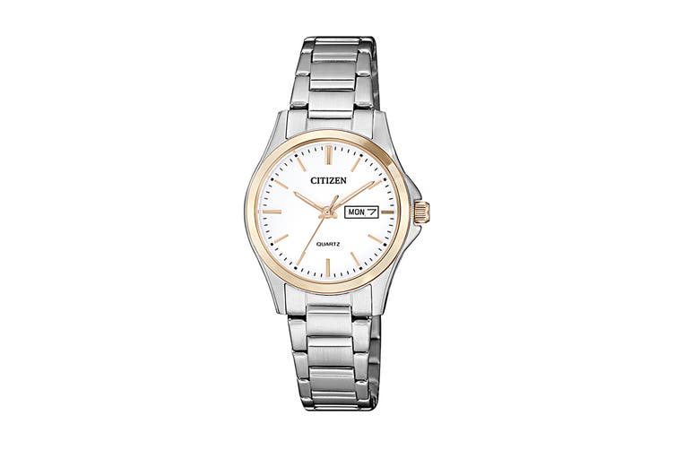 Citizen Ladies' 27.5mm Analog Dress Quartz Watch with Date/Day, 3 Hands, Stainless Steel Bracelet & Push Button Buckle - White/Stainless Steel/Gold (EQ0596-87A)