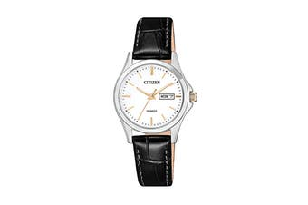 Citizen Ladies' 27.5mm Analog Dress Quartz Watch with Date/Day, 3 Hands & Leather Strap - White/Leather Strap (EQ0599-11A)