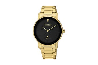 Citizen Ladies' 34mm Analog Dress Quartz Watch with 3 Hands,  Stainless Steel Bracelet & Push Button Buckle - Black/Stainless Steel Gold (EQ9062-58E)