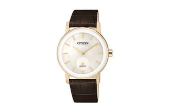 Citizen Ladies' 34mm Analog Dress Quartz Watch with 3 Hands & Leather Strap - Gold/Mother of Pearl/Brown Leather (EQ9063-04D)