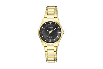 Citizen Ladies' 26mm Analog Dress Quartz Watch with 3 Hands Stainless Steel Bracelet & Push Button Buckle - Black/Stainless Steel Gold (ER0203-85E)