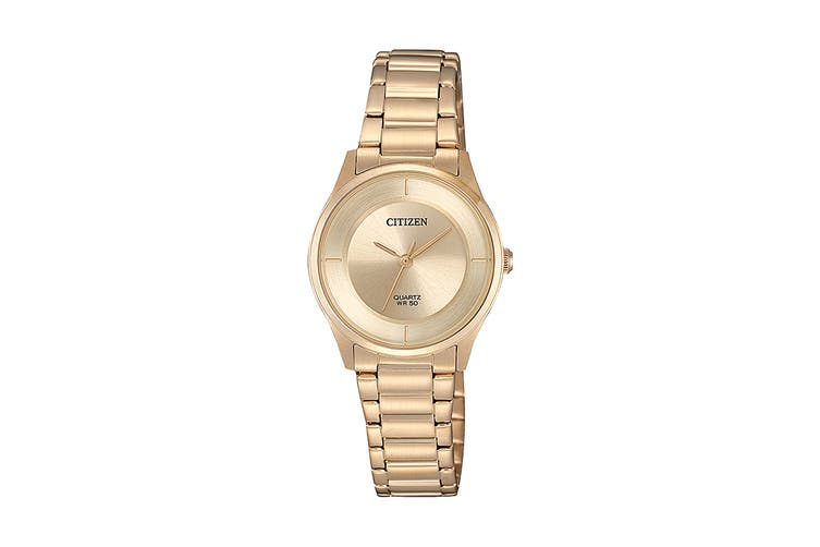 Citizen Ladies' 26.5mm Analog Dress Quartz Watch with 3 Hands, Stainless Steel Bracelet & Push Button Buckle - Gold/Stainless Steel Gold (ER0205-80X)