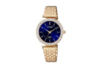 Citizen Ladies' 30mm Analog Dress Japanese Quartz Watch with Swarovski Elements, 3 Hands, Stainless Steel Bracelet & Push Button Buckle - Blue/Stainless Steel Gold (ER0213-57L)