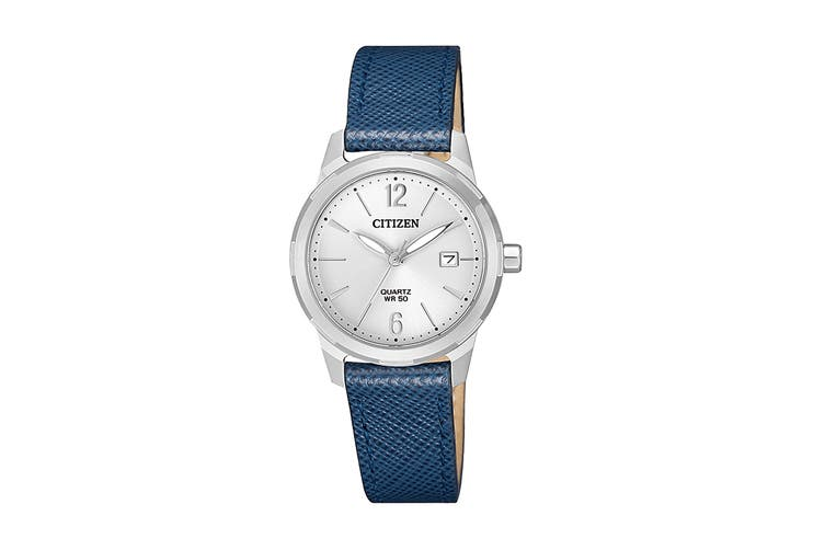 Citizen Ladies' 28mm Analog Dress Quartz Watch with Date, 3 Hands & Leather Strap - Blue/Stainless Steel (EU6070-19A)