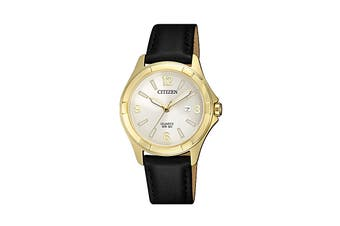 Citizen Ladies' Analog Quartz Watch with Oxhide Leather Band - Black/Stainless Steel Gold (EU6082-01A)