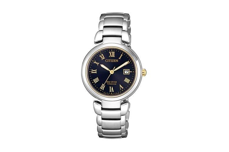 Citizen Ladies' 29mm Analog Super Titanium Eco-Drive Watch with Date, 3 Hands, Titanium Bracelet & Push Button Buckle - Black/Titanium (EW2509-83L)