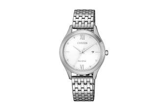 Citizen Ladies' 30mm Analog Dress Eco-Drive Watch with Date, 3 Hands, Stainless Steel Bracelet & Push Button Buckle - White/Stainless Steel (EW2530-87A)