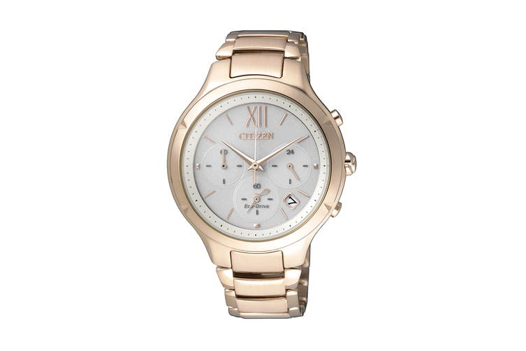 Citizen Ladies' 38mm Analog Chronograph Eco-Drive Watch with Date, 12/24hr Time, 3 Hands, Stainless Steel Bracelet & Push Button Buckle - White/Stainless Steel Gold (FB4013-51A)