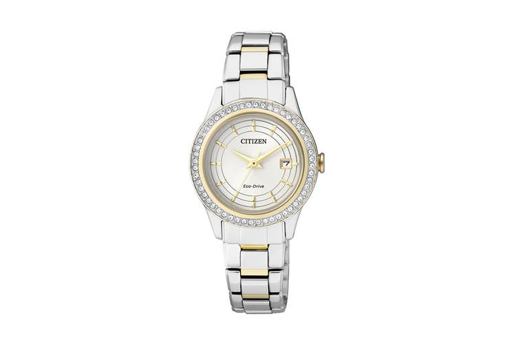 Citizen Ladies' 28mm Analog Dress Eco-Drive Watch with Swarovski Elements, Date, 3 Hands, Stainless Steel Bracelet & Push Button Buckle - Silver/Stainless Steel (FE1124-82A)